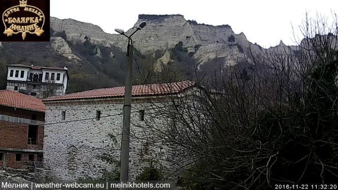 """Уеб камера от Мелник - на живо от хотел """"Болярка"""" с панорамна гледка към Мелнишките пирамиди."""