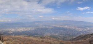 360° панорамна уеб камера от Скопие от планината Водно в близост до Милениумски кръст на 1000 м.н.в.